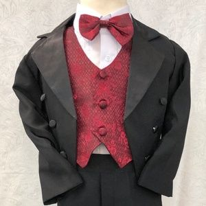 Burgundy Jacquard Satin Penguin Tuxedo Suit 5 pc